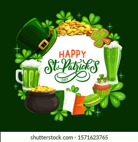 St. Patricks Day shamrock, leprechaun hat, gold and green beer vector design. Irish religious holiday greeting card with clover leaves, golden coins pot, Ireland flag and celtic elf treasure cauldron