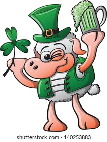 St Patrick's Day Sheep winking, smiling and holding a clover and a glass of beer