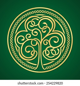 St. Patrick's day. Stylized image of a shamrock on a dark green background with celtic ornament.