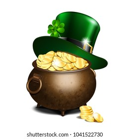 St. Patricks Day symbols. Green leprechaun hat with clover leaf on old iron pot full of gold. Vector illustration isolated on white background
