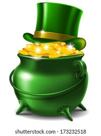 St. Patrick's Day symbols - leprechaun hat and pot of gold.  Vector illustration
