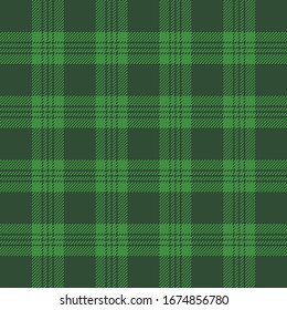 St. Patricks day tartan plaid. Scottish pattern in green and black cage. Scottish cage. Traditional Scottish checkered background. Seamless fabric texture. Vector illustration