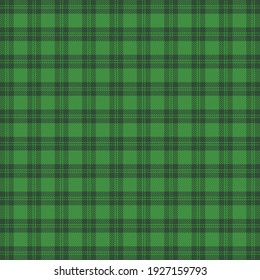 St. Patricks day tartan plaid. Scottish pattern in green and dark green cage. Scottish cage. Traditional Scottish checkered background. Seamless fabric texture. Vector illustration