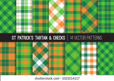 St Patrick's Day Tartan Vector Patterns. Green and Orange Gingham Plaid. Irish Flag Color Backgrounds. Traditional Textile Prints. Repeating Pattern Tile Swatches Included.
