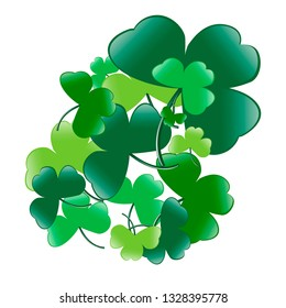 St. Patrick's Day. Three petty clover. A good option for your calendar work or additions to work. Made in green shades. White background transparent.