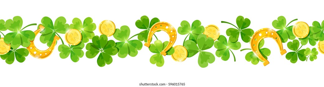 St. Patrick's day vector horizontal seamless background with green shamrock leaves, gold coins and horseshoes.