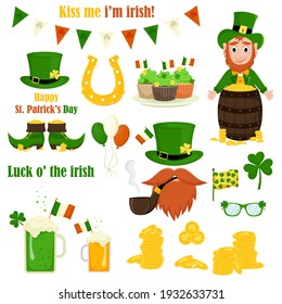 St. Patrick's Day vector icons set isolated on a white background. Flat style, cartoon style elements: leprechaun, gold, shamrock, cupcakes, shoes, horseshoe, beer, ale, coins, flag