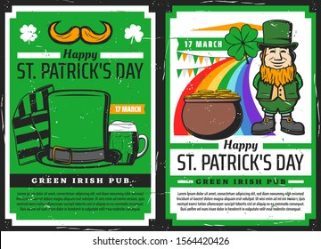 St Patricks Day vector invitations of Irish pub party with leprechaun, shamrock clover green leaves and pot of gold coins, beer, celtic elf hat, orange beard and rainbow. Religion holiday of Ireland
