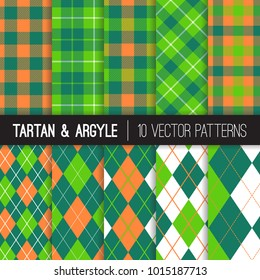 St Patrick's Day Vector Patterns. Green and Orange Argyle, Tartan and Gingham Plaid. Irish Flag Color Backgrounds. Traditional Textile Prints. Repeating Pattern Tile Swatches Included.