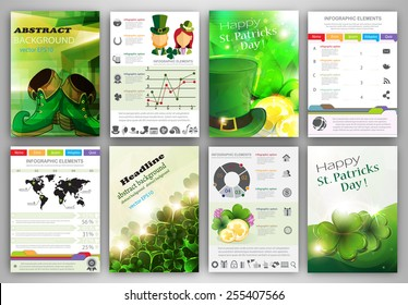 St. Patrick's Day vector set of flyer and brochure design templates.  Business technology internet and networking  abstract  backgrounds.  Concept backgrounds for web and mobile applications.