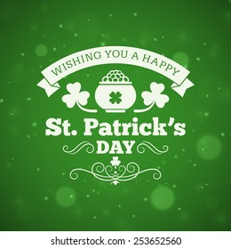 St. Patricks Day vintage holiday badge design. Vector design greetings card or poster with blurred green backdrop