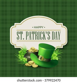 St. Patricks Day vintage holiday badge design. Vector illustration EPS10