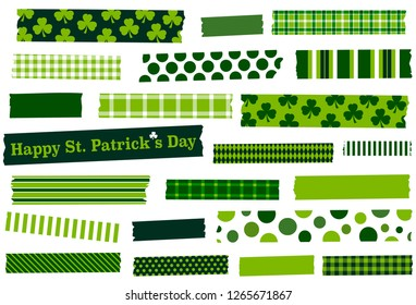 St. Patrick's Day washi tape vector illustration. Green masking tape strips for frames, borders, photos, scrapbooking, crafts and decoration. Semitransparent. Graphic design resources.