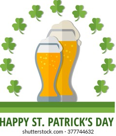 St. Patrick's emblem with glasses of beer. Eps 10