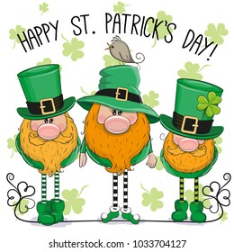 St Patricks greeting card with three cute cartoon leprechauns