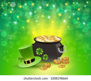 St patricks holiday sparkling background with pot of gold, leaves of clover, hat of leprechaun vector illustration