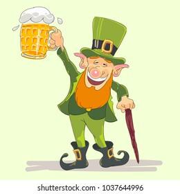 st Patricks leprechaun with beer vector illustration