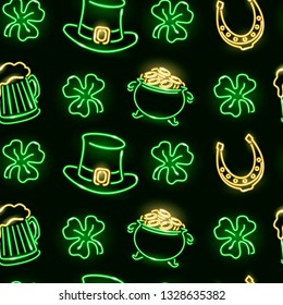St. Patrick's seamless pattern with neon glowing icons of shamrock, leprechauns hat, horseshoes, pot with coins on dark background. Vector 10 EPS illustration.