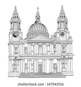 St. Paul Cathedral, London city, UK. World famous landmark drawing isolated. Travel  background.