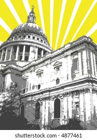 St. Paul Cathedral - London - vector poster