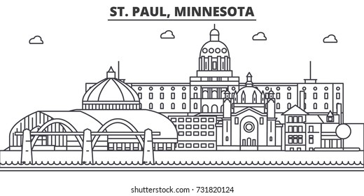 St. Paul, Minnesota architecture line skyline illustration. Linear vector cityscape with famous landmarks, city sights, design icons. Landscape wtih editable strokes