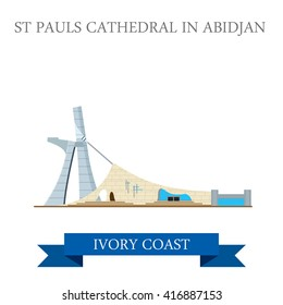 St Paul's Cathedral in Abidjan Ivory Coast. Flat cartoon style historic sight showplace attraction web site vector illustration. World countries cities vacation travel sightseeing Africa collection.