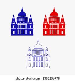 St. Paul's Cathedral, London landmark vector Illustration. Outline design element for tourism banner, flayer, website background.
