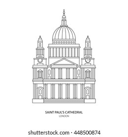 St. Paul's Cathedral, London landmark vector Illustration. Outline design element for tourism banner, flayer, website background