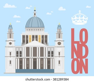 St Paul's Cathedral  London / Travel to England Vector Illustration