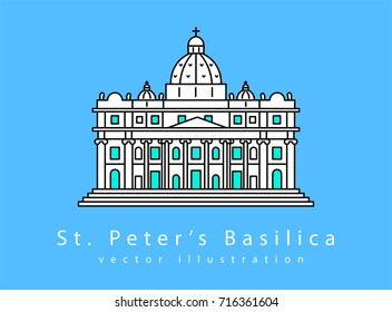 St. Peter's Basilica. Symbol of Rome and Vatican City.