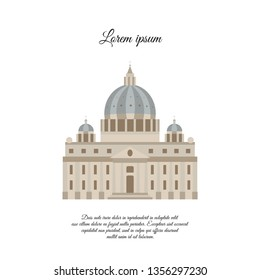St. Peter's Cathedral in Rome color vector icon, sign, symbol