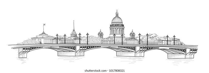 St. Petersburg city, Russia. Saint Isaac's cathedral skyline with Admiralty building spire landmark silhouette and bridge, Neva river view. Russian cityscape travel background.