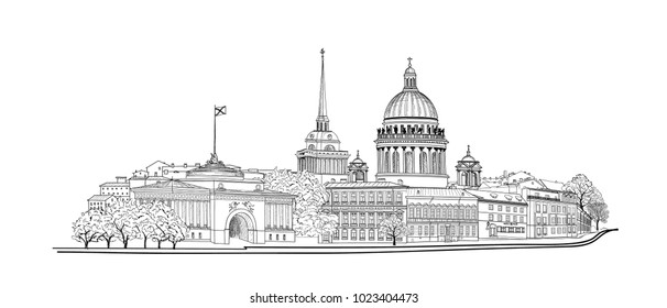 St. Petersburg city, Russia. Saint Isaac's cathedral skyline with Admiralty building spire landmark, Neva river view. Russian cityscape travel background.