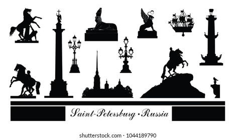 St. Petersburg city symbol set, Russia. Tourist landmark icon collection. Russian famous place in Saint-Petersburg