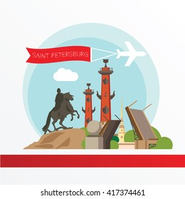 St. Petersburg detailed silhouette. Trendy vector illustration, flat style. Stylish colorful  landmarks.  Bronze Horseman, Peter and Paul Fortress, Rostral column the symbol of Saint Petersburg Russia
