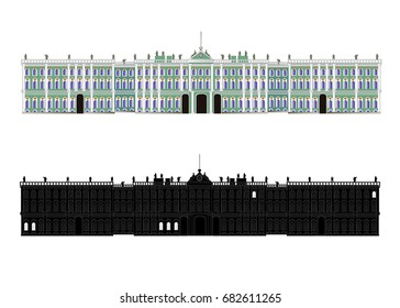 St. Petersburg. Palace Square. Winter Palace, State Hermitage Museum. Color vector isolated on white illustration. Silhouette. Icon