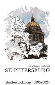 ST. PETERSBURG, RUSSIA - Saint Isaac's Cathedral in winter, Saint Petersburg, Russia. Hand created sketch. Postcard, calendar, poster
