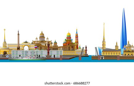 St. Petersburg, Russia skyline. Detailed silhouette. Color vector isolated on white illustration.