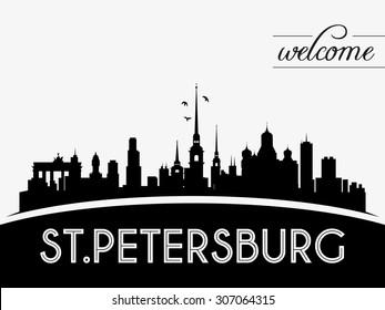St. Petersburg Russia skyline silhouette vector illustration, black and white design.