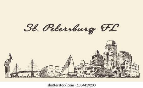 St. Petersburg skyline, Florida, United States, USA, hand drawn vector illustration, sketch
