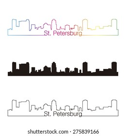 St Petersburg skyline linear style with rainbow in editable vector file