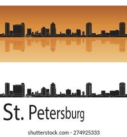 St Petersburg skyline in orange background in editable vector file