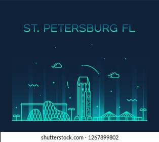 St. Petersburg skyline, Pinellas County, Florida, USA. Trendy vector illustration, linear style