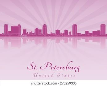 St Petersburg skyline in purple radiant orchid in editable vector file