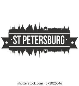 St Petersburg Skyline Stamp Silhouette Vector City Design Art