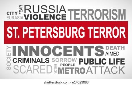 St. Petersburg terror attack - word cloud illustration english