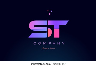 st s t creative color blue background pink purple blue magenta alphabet letter company logo vector icon design