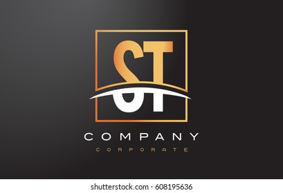 ST S T Golden Letter Logo Design with Swoosh and Rectangle Square Box Vector Design.