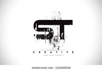 ST S T Grunge Brush Letter Logo Design in Black Colors. Creative Brush Letters Vector Illustration.