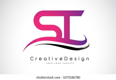ST S T Letter Logo Design in Black Colors. Creative Modern Letters Vector Icon Logo Illustration.